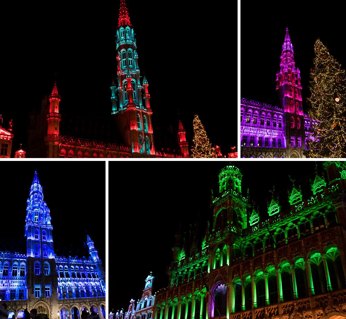 bruessel grote markt rathaus lichtershow winter
