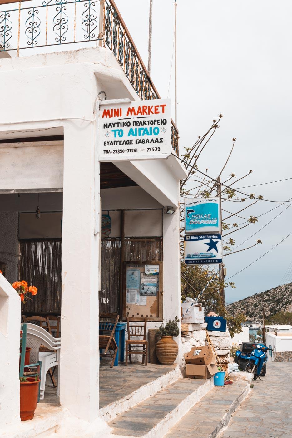 Iraklia Kykladen Griechenland Supermarkt