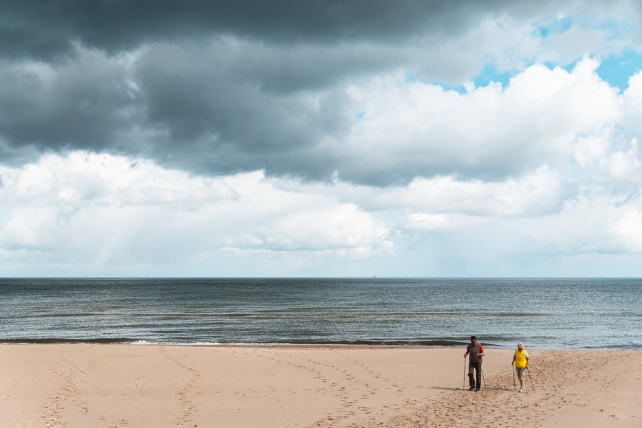 usedom strand wolken nordic walking