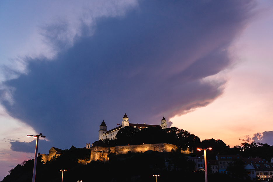 Bratislava Burg Nacht Abend Slowakei