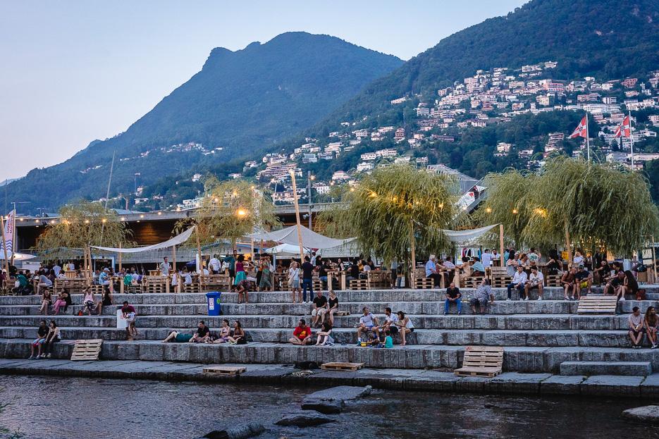 Lugano Strand Abendlicht